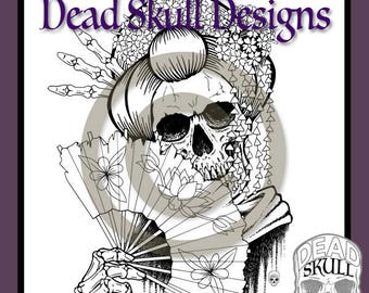 Geisha Skull - Colouring Page, Coloring Page, Digital Stamp, Dead Skull Designs