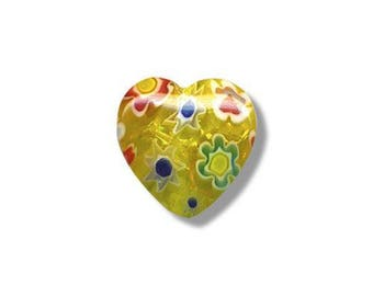 2 hearts 13.5 mm x 13 mm millefiori glass beads
