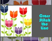 Modern cross stitch pattern. Contemporary embroidery sampler. Retro floral design. 'Field of naïve retro tulips'