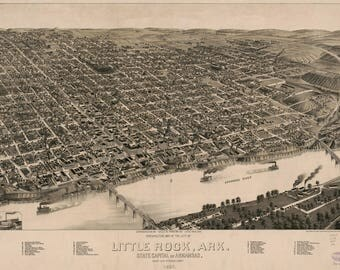 Little Rock ARK Panoramic Map Dated 1887. This print is a wonderful wall decoration for Den, Office, Man Cave or any wall.