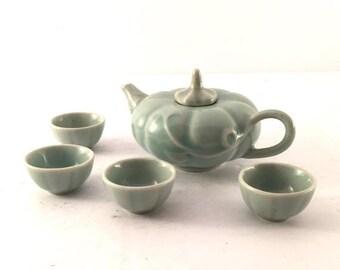 ON SALE Vintage tea set Childs teapot and cups miniature china teapot and cups dolls tea set pale green tea set