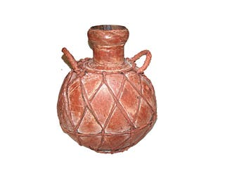Copper Flask, Copper Bottle, Copper with Leather, Copper Jug