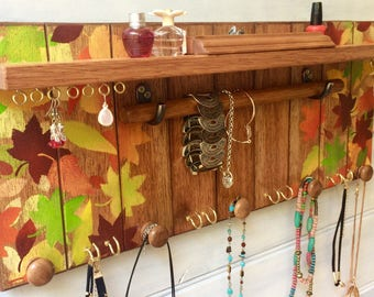 Hand painted jewelry organizer - Autumn / Fall leaves - Jewelry display shelf - Necklace holder - Jewellery storage - Wooden knobs