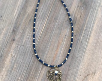 Blue & Gold Beaded Pendant Necklace