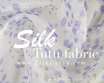 Bridal fabric Lilac ivory silk organza fabric by the YARD