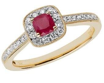 Diamond Cushion RUBY 9ct Yellow Gold Engagement Wedding Ring & 25pt Diamond Cushion Cluster Ring