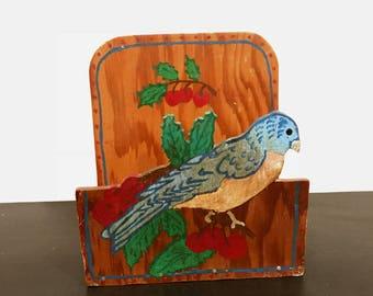 Vintage Wooden Hand Painted Folk Art Letter Holder