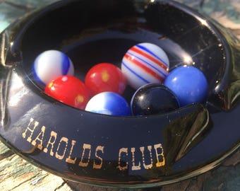 Vintage black glass ashtray souvenir Harold's Club For Fun Reno 1960's casino souvenir