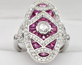 14K White Gold, Diamonds & Ruby Ring 5.2g sz 6.25