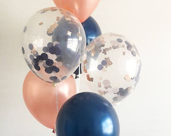 Rose Gold Confetti Balloons Rose Gold Navy Latex Balloons Rose Gold Bridal Shower Rose Gold Wedding Rose Gold Balloons Navy Balloons Navy