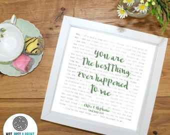 Ray LaMontagne You Are The Best Thing Song Lyrics Inspired Personalised Print - With OWN LINE and personal text - Wedding Gift