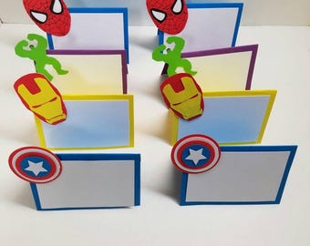 Superhero place cards food tents. Set of 8 superhero party. Food tents. Placecards. Superhero party supplies.