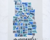 Minneapolis Map • Custom Watercolor Gift • Neighborhood Map • Minneapolis Minnesota Gift • Custom City Map