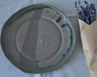 New Grey and Green Pottery Plate