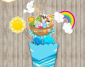 Noak Ark Centerpiece-Printable Centerpiece Noah Ark-Centerpiece Noah Ark-Party Supplies-Party Decor-Printable-Birthday-Baby Shower