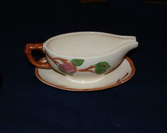 Franciscan (England Backstamp) Apple Gravyboat with attached underplate