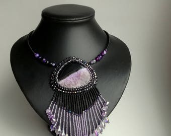 Agate Beadwork Necklace, Seed Bead Necklace, Gemstone necklace, black/ purple necklace, crystals necklace