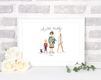 Personalised hand illustrated family portraits- bespoke portraits-hand drawn portraits-unique gift-personalised gift-personalise
