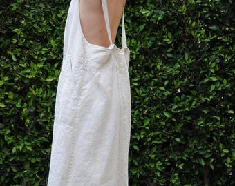 Beige Linen Maxi Dress / Oversized Drop Pockets Overalls / Minimalist