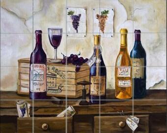 "Wine & Grapes Decor 30"" x 24"" Ceramic Tile Mural Backsplash/Wall Decor', #1146"