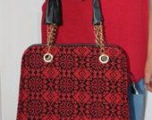 VTG 90s Black & Red Faux Leather Palestinian/Ethnic Criss Cross Emboirdered Handbag