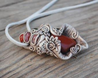 Red Jasper - Handmade polymer clay pendant