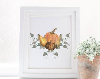 Pumpkin Art Print, Watercolor Pumpkin, Pumpkin Vines, Pumpkin Printable, Digital Download, Fall Home Decor, Autumn Wall Art Pumpkin Painting