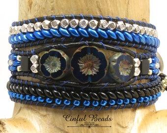 BOHO LEATHER WRAP Bracelet-Beaded Leather Wrap-Hawaiian Flower-Czech Glass Button-Leather Wrap-Boho Wrap-Wrap Bracelet-Leather Cuff-(TW32E)