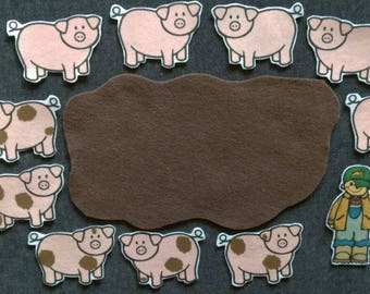 5 Little Pigs Felt Set// Flannel Board // Imagination // Children // Preschool // Creative Play // Adventure // Song //