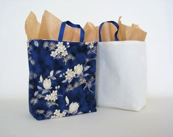 cream reusable gift bag, blue fabric gift bag, eco friendly giving, reusable gift wrap, reversable wrapping paper, shower gift wrapping
