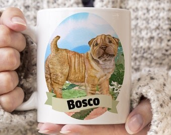 Shar Pei Custom Dog Mug - Get your dogs name on a mug - Dog Breed Mug - Great gift for dog owner - Shar Pei mug