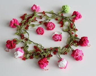 Rose jewelry set, Pink rose set, Bridal Set, Crochet jewelry set, Wrap Beaded necklace, Flower bridal necklace