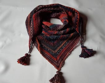 Multicolor shawl is hand crocheted