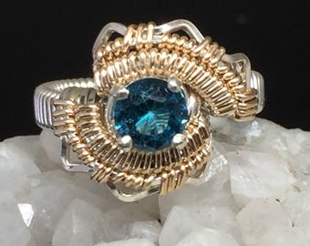 London Blue Topaz Ring Argentium Silver 14 karat yellow gold filled wire wrapped jewelry