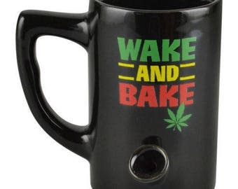 FREE SHIPPING in USA // Ceramic Porcelain Wake and Bake Coffee Water Novelty Pipe Mug // Gift //