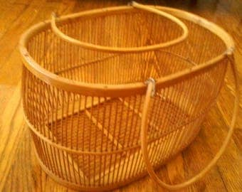"Wicker Basket Planter with handles, 13-1/2"" wide by 7-1/2"" high"