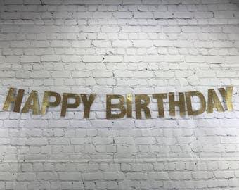 Happy Birthday Banner, Gold Glitter, Party banner, Glitter panner, birthday decor, party decorations