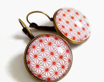 Stud Earrings * Asian geometry * coral red Japanese paper, glass cabochon