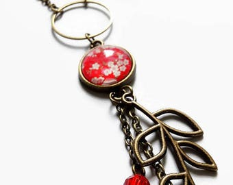 Necklace * paper * washi cherry red pink Japan glass carabochon fairy cabochon flowers