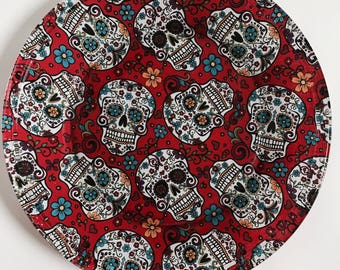 Set of 5 Sugar Skulls Party set, Halloween Plates, Day of the Dead Plates