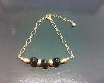 Gold filled 14 k and Golden Obsidian bracelet