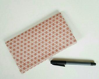 Checkbook / pink gold stars fabric check book