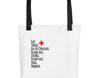 Clinical Tote bag| Personlizable| Every Day Tote| Nurse Gift| Doctor Gift| White Tote| Nurse Bag| Doctor Bag| Nursing School