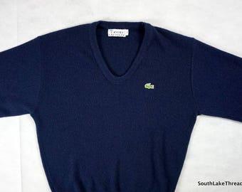 Vintage Lacoste Sweater Izod Lacoste Navy Blue V Neck Sweater Men's Medium Lacoste Vintage mens lacoste