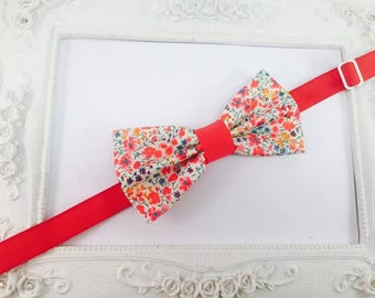 Bow tie fabric Liberty Phoebe red child