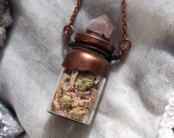 Floral Necklace, Dried Flowers, Apothecary, Aromatherapy, Herbal Necklace, Boho Copperplated Jewelry, Copper Plated, Electroformed, Pagan