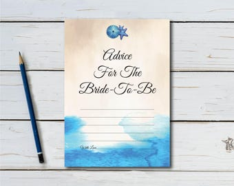 Advice For The Bride-To-Be, Bridal Shower Game, Nautical, Ocean, Starfish, Sanddollar, Tropical Beach, Beach Theme, Instant Download T703A