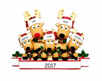 Personalized Cozy Reindeer Family Christmas Ornament - Family of 5
