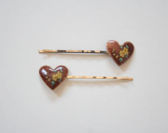 Vintage Heart With Flowers Bobby Pin Set - Mini Hair Clip Bobby Pin Retro Pin up Hair Accessories