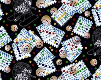Bingo Fabric by the Yard / Games of Chance Elizabeth's Studio 269  - Bingo Yardage on Black / Bingo Fat Quarters / By The Yard  / 1/2 Yard